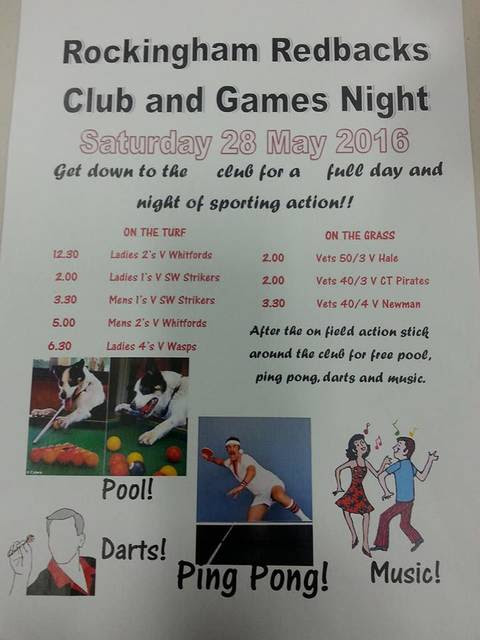 Rockingham Redbacks Club and Game Night May 28 2016